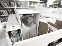 Box of Binders and Files Stock Image