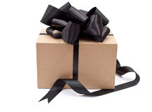 Box with black bow Royalty Free Stock Images