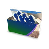Box with black tea in paper bags Royalty Free Stock Photo