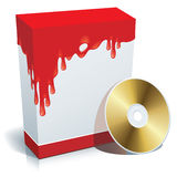 Box with bloody background. Blank 3d box with bloody background and CD Royalty Free Stock Photography