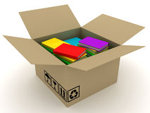 Box of book. Box of knowledge. 3D render Royalty Free Stock Image