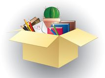 Box of books, pencils and cactus. Stock Image