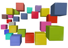 Box border color abstract data cubes. A border of many colorful abstract data cube boxes with copy-space in the center Stock Images