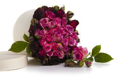 Box with bouquet of red roses isolated on white Stock Photo