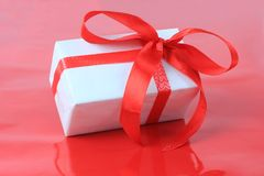 Box, bow and ribbon for Valentine's Day Royalty Free Stock Image