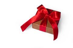 Box, bow and ribbon  on white Stock Photos