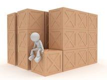 Box, box, many wooden boxes. Isolated on white background Stock Photos