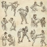 Box. Boxing Sport. Collection of boxing positions of some sportm Royalty Free Stock Images