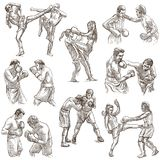 Box. Boxing Sport. Collection of boxing positions of some sportm Royalty Free Stock Photos
