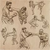 Box. Boxing Sport. Vector collection of boxing positions of some Stock Image