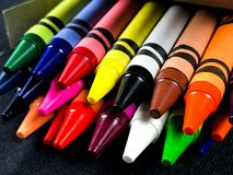 Box of Brand New Crayons royalty free stock photos