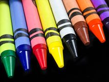 Box of Brand New Crayons stock photo