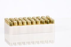 Box of brass gun ammunition. For firearm Royalty Free Stock Photography