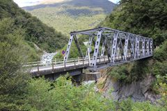 Box Bridge over canyon in New Zealand stock photography