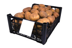 The box of bright yellow potatoes with price tag Royalty Free Stock Images