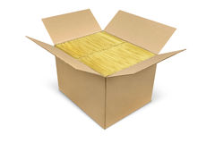 Box with brown bubble envelopes Royalty Free Stock Images