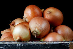 Box of Brown Onions Royalty Free Stock Photography
