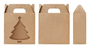 Box brown window Christmas tree shape cut out Packaging template, Empty kraft Box Cardboard isolated white background. The Box brown window Christmas tree shape stock image
