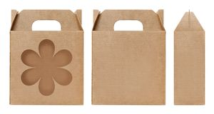 Brown Box window shape cut out Packaging template, Empty Box Cardboard, Boxes Paper kraft material Gift Box Brown Packaging carton. Box brown window shape cut stock photography