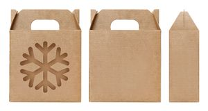 Brown Box window shape cut out Packaging template, Empty Box Cardboard, Boxes Paper kraft material Gift Box Brown Packaging carton stock image