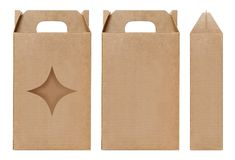 Box brown window Star shape cut out Packaging template, Empty kraft Box Cardboard isolated white background, Boxes Paper kraft royalty free stock image