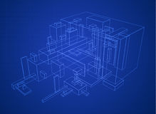 Box Build Blueprint Royalty Free Stock Photos