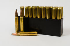 Box of Bullets with Three Out Royalty Free Stock Photos
