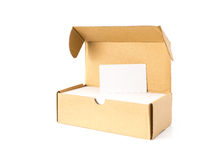Box of business cards with a blank one good for text and logo stands on top Royalty Free Stock Image