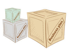 Box business plan. Multi-colored boxes with business plans on the  background Royalty Free Stock Photography