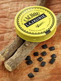 Box of Cachous Lajaunie and licorice sticks Stock Photos