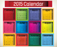 Box Calendar. 2015 calendar in us style, start on sunday, each month with individual table Stock Image