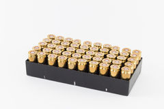 Box of .45 caliber cartridges Royalty Free Stock Photo
