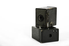 Box Cameras. Two Box cameras with a white background Stock Image