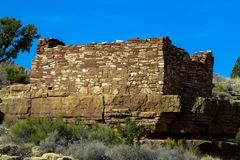 Wupatki National Monument preserves and protects ancient Native American ruins in northern Arizona. Box Canyon is an Anasazi ruin in Wupatki National Monument in Royalty Free Stock Images
