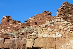 Wupatki National Monument preserves and protects ancient Native American ruins in northern Arizona. Box Canyon is an Anasazi ruin in Wupatki National Monument in Royalty Free Stock Photos