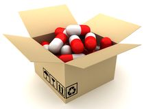 Box and capsules Stock Photo