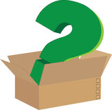 Box of cardboard box with green color demand point.  vector illustration