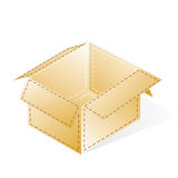 Box, cardboard with a dash-dot stripes, open. Box, open, cardboard with a dash-dotted beige stripes royalty free illustration