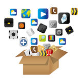 Box of cardboard opened with global communicate elements. Illustration Royalty Free Stock Image