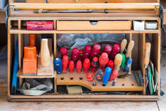 Box of carpenter joiner tools as screwdriver Royalty Free Stock Images