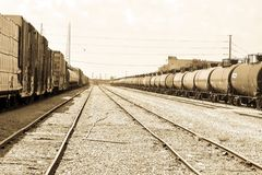 Box and tanker rail cars. Royalty Free Stock Image