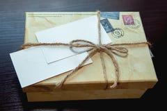 Box, carton. Gift carton box with rope Royalty Free Stock Photo