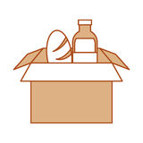 Box carton packing with bread and bottle Stock Image