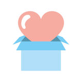 Box carton packing with heart Royalty Free Stock Photos