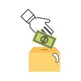 Box carton packing with money Stock Photos