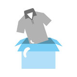Box carton packing with shirt Stock Images