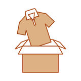 Box carton packing with shirt Royalty Free Stock Photography