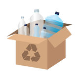 box carton with recycle symbol Royalty Free Stock Images