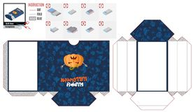 Box casket with a hungry pumpkin for Halloween stock illustration