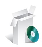 Box CD. Vector blank open box with CD Royalty Free Stock Image
